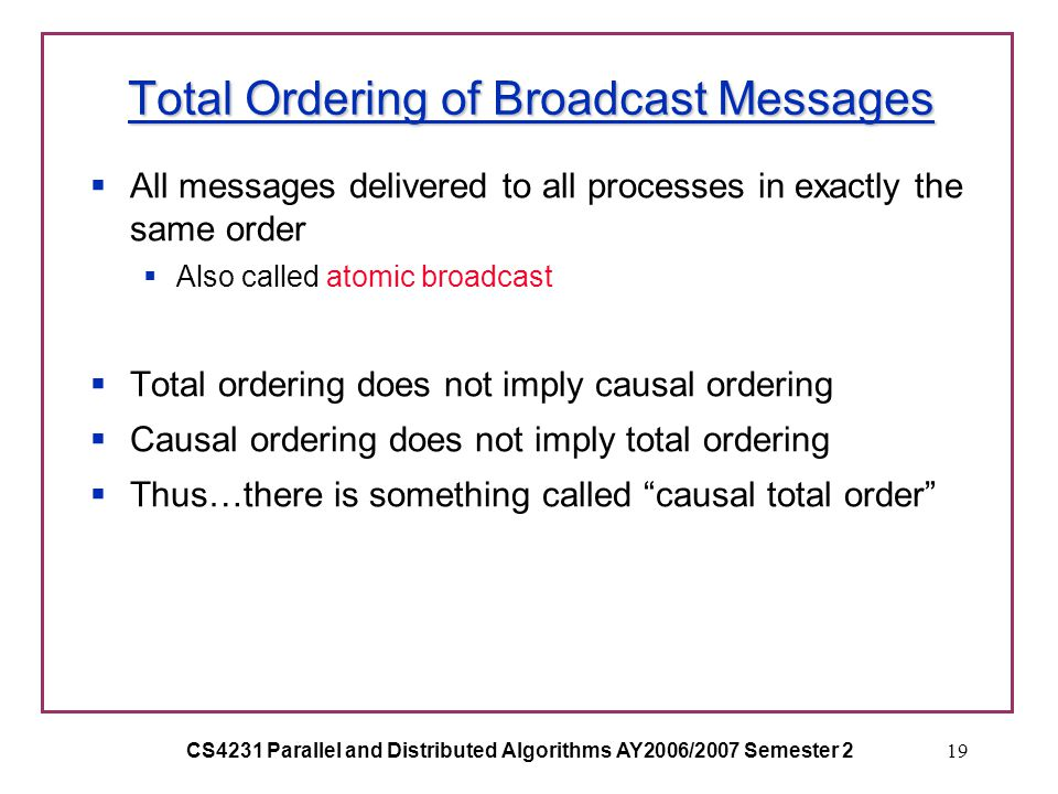 CS4231 Parallel and Distributed Algorithms AY2006/2007 Semester 219 Total Ordering of Broadcast Messages  All messages delivered to all processes in exactly the same order  Also called atomic broadcast  Total ordering does not imply causal ordering  Causal ordering does not imply total ordering  Thus…there is something called causal total order