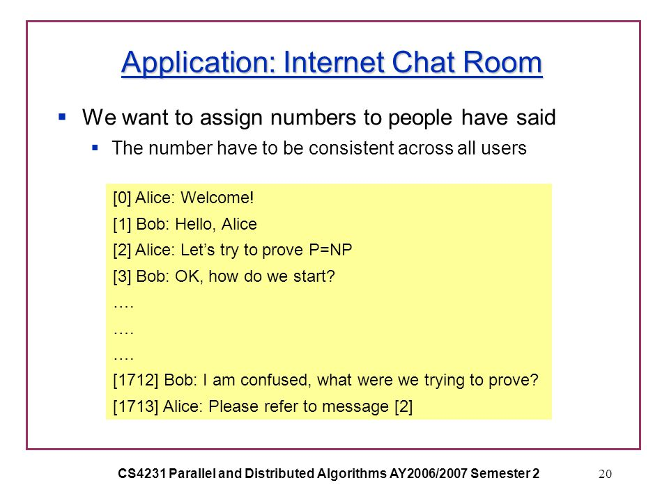CS4231 Parallel and Distributed Algorithms AY2006/2007 Semester 220 Application: Internet Chat Room  We want to assign numbers to people have said  The number have to be consistent across all users [0] Alice: Welcome.