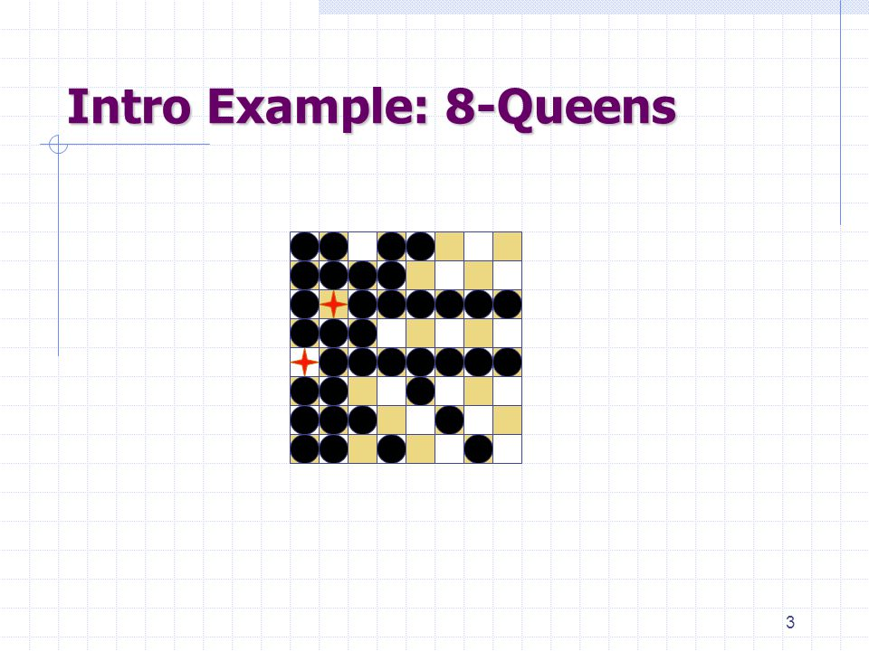 3 Intro Example: 8-Queens