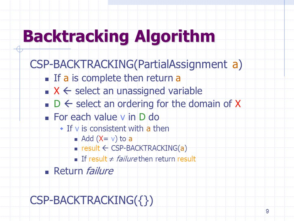 9 Backtracking Algorithm CSP-BACKTRACKING(PartialAssignment a) If a is complete then return a X  select an unassigned variable D  select an ordering for the domain of X For each value v in D do  If v is consistent with a then Add (X= v) to a result  CSP-BACKTRACKING(a) If result  failure then return result Return failure CSP-BACKTRACKING({})
