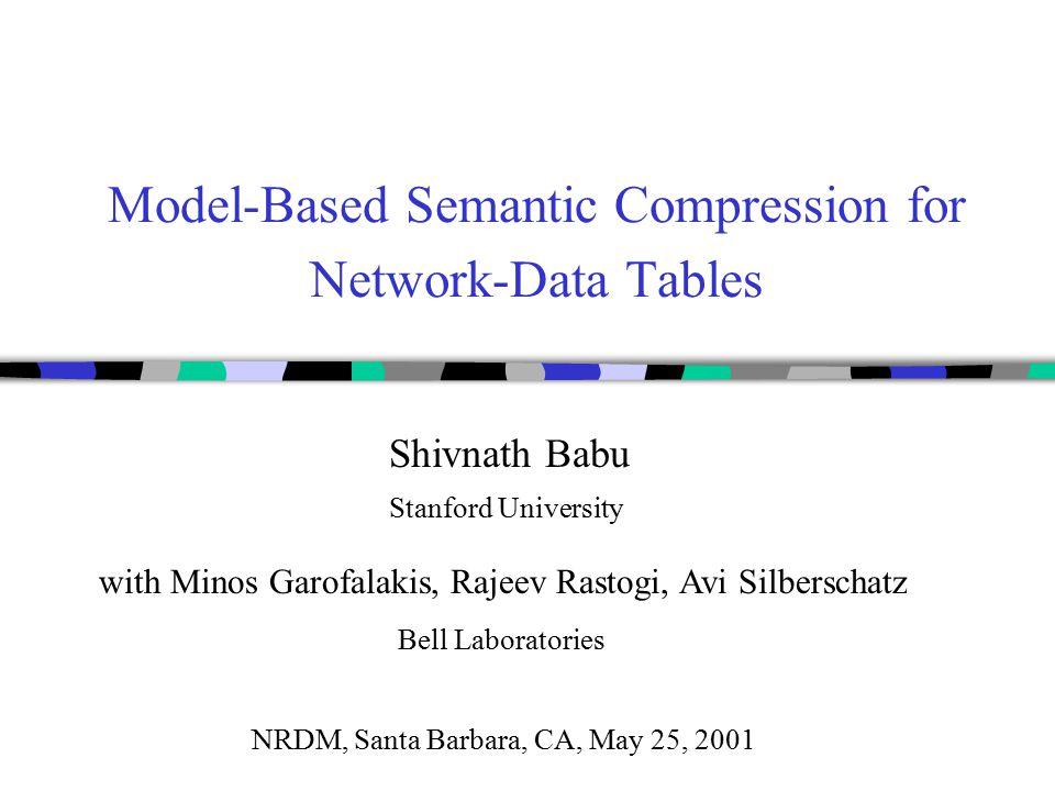 Model-Based Semantic Compression for Network-Data Tables Shivnath Babu Stanford University Bell Laboratories with Minos Garofalakis, Rajeev Rastogi, Avi Silberschatz NRDM, Santa Barbara, CA, May 25, 2001