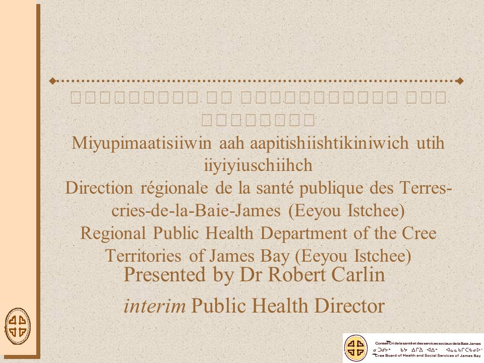 Plan of the Presentation Current Organization of Public Health Department –Position within the CBHSSJB –Described in terms of the Quebec Public Health Plan Awash, Ushiniichisuu, Chishaayiyuu Surveillance, evaluation, research, and communication –Described in terms of current working groups Goal(s) of today