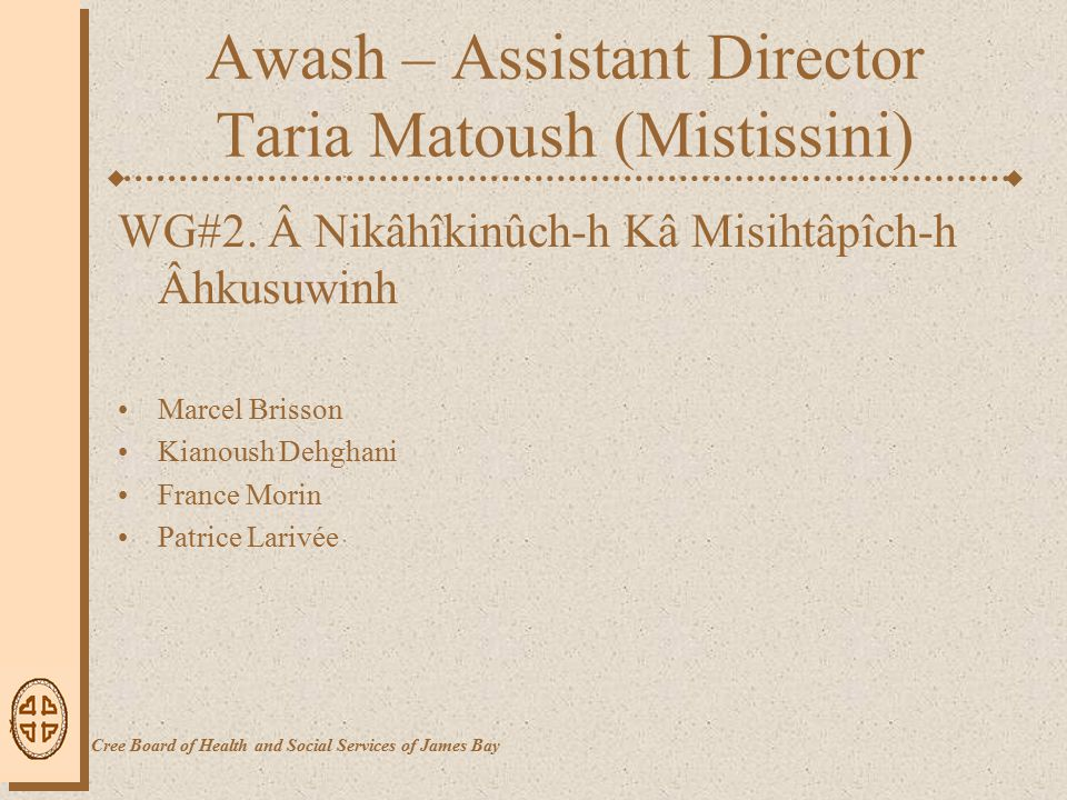Awash – Assistant Director Taria Matoush (Mistissini) WG#2.