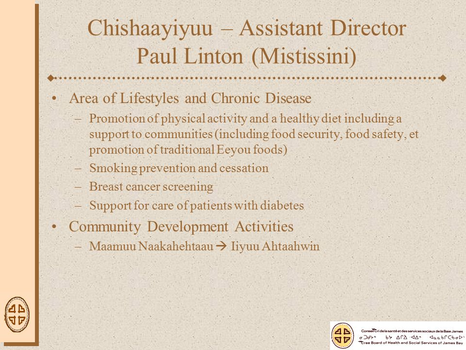 Area of Lifestyles and Chronic Disease –Promotion of physical activity and a healthy diet including a support to communities (including food security,