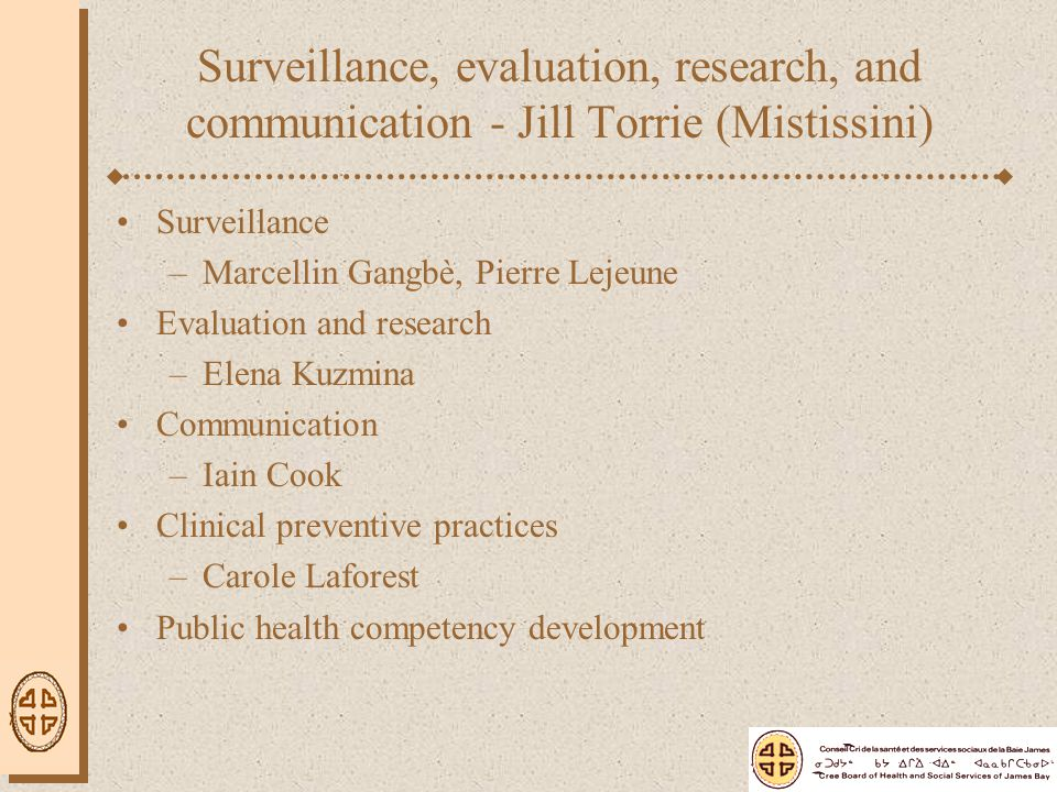 Surveillance, evaluation, research, and communication - Jill Torrie (Mistissini) Surveillance –Marcellin Gangbè, Pierre Lejeune Evaluation and research –Elena Kuzmina Communication –Iain Cook Clinical preventive practices –Carole Laforest Public health competency development