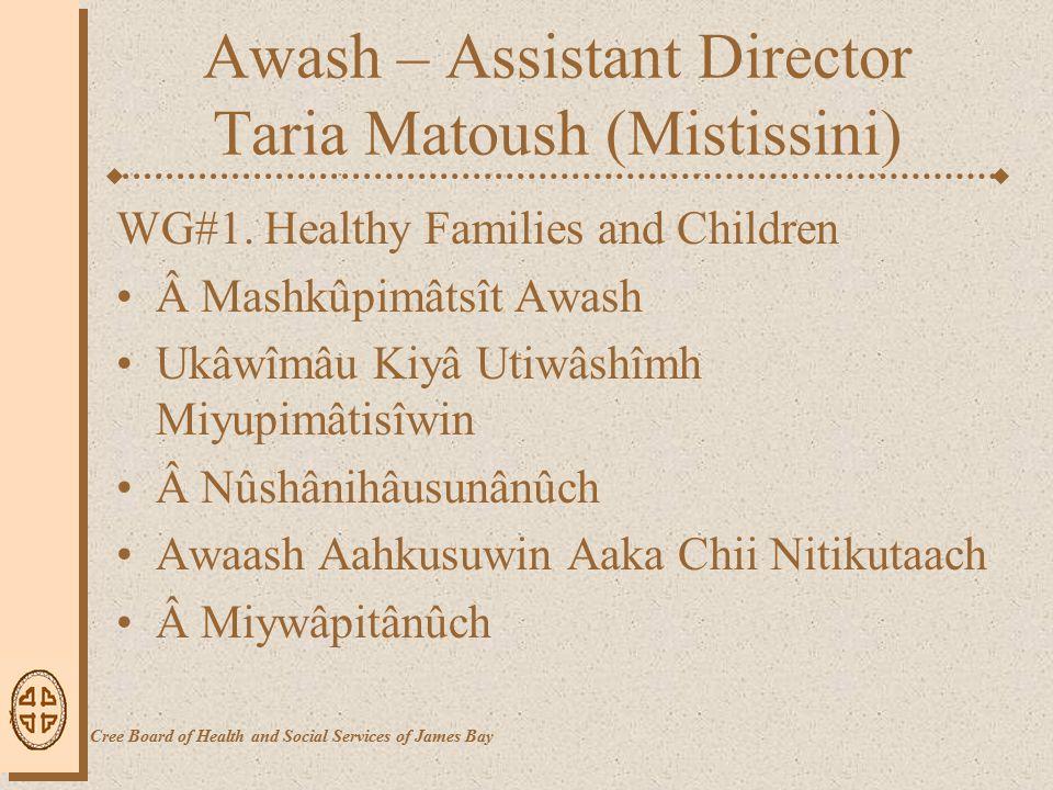 Awash – Assistant Director Taria Matoush (Mistissini) WG#1.