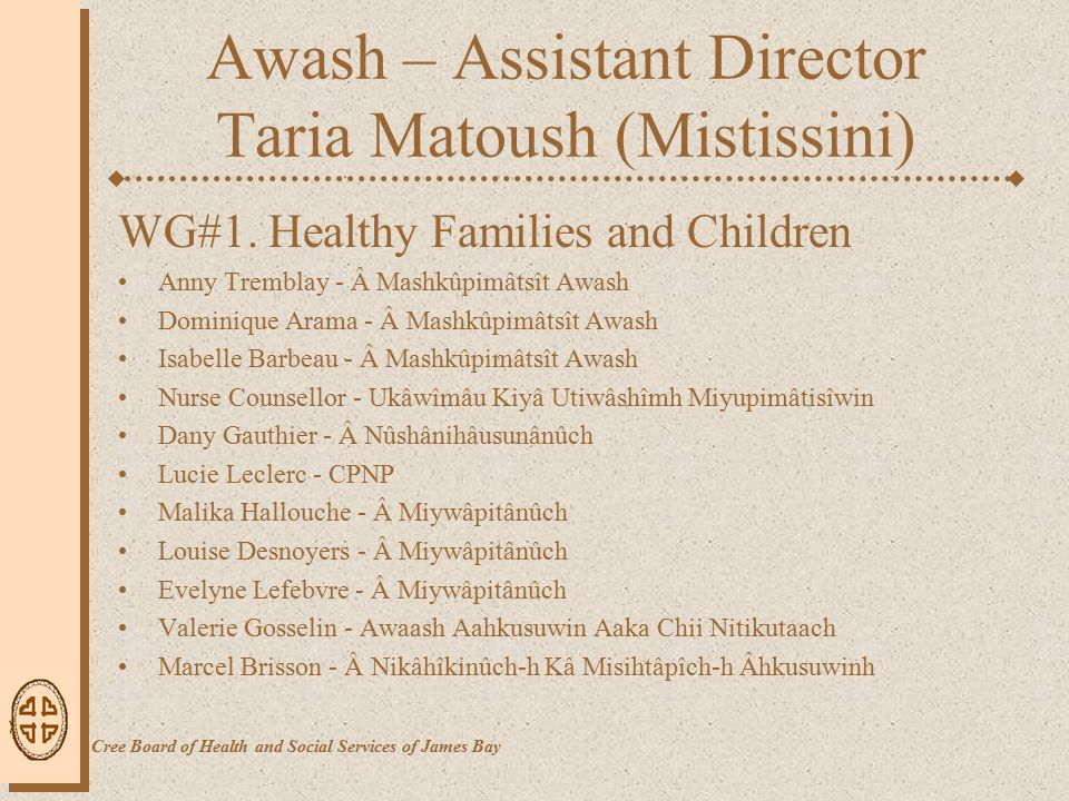 Awash – Assistant Director Taria Matoush (Mistissini) WG#1.