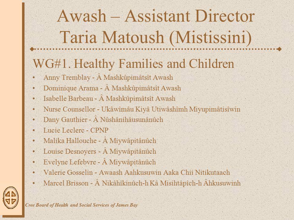 Awash – Assistant Director Taria Matoush (Mistissini) WG#2.