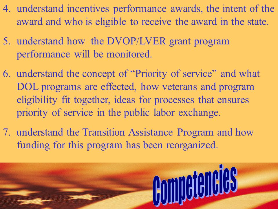 4.understand incentives performance awards, the intent of the award and who is eligible to receive the award in the state.