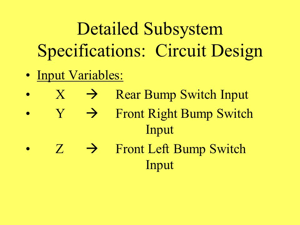 Detailed Subsystem Specifications: Circuit Design Input Variables: X  Rear Bump Switch Input Y  Front Right Bump Switch Input Z  Front Left Bump Switch Input