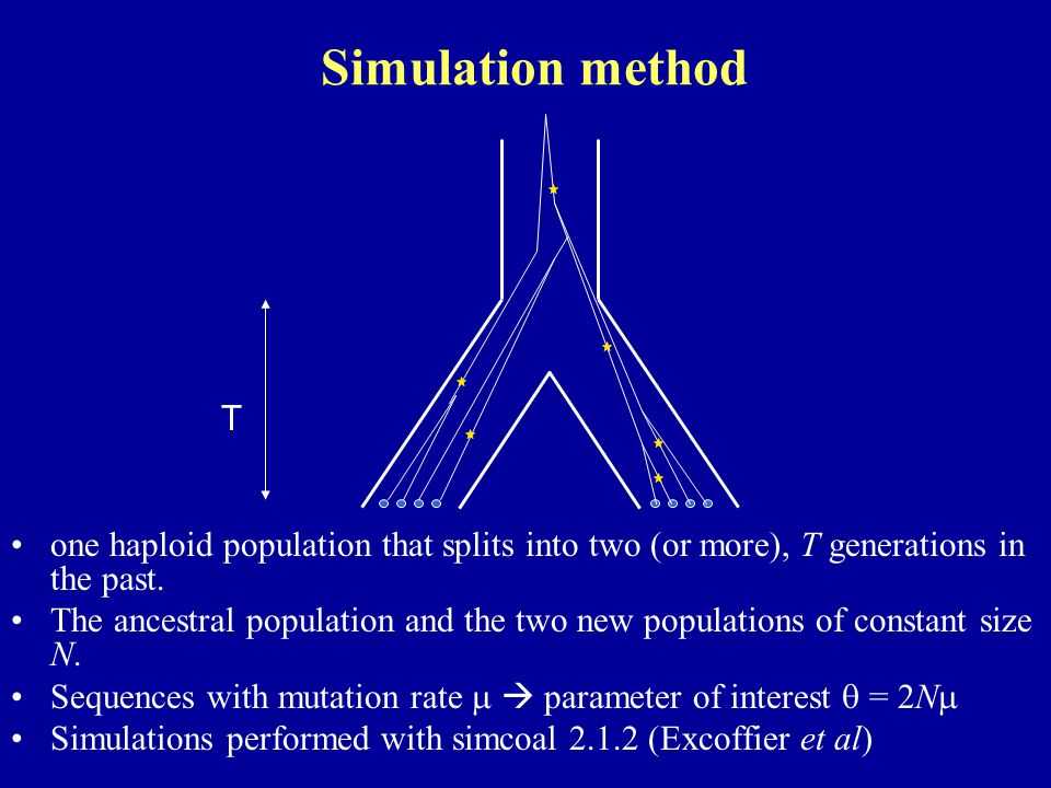 Simulation method one haploid population that splits into two (or more), T generations in the past. The ancestral population and the two new populatio