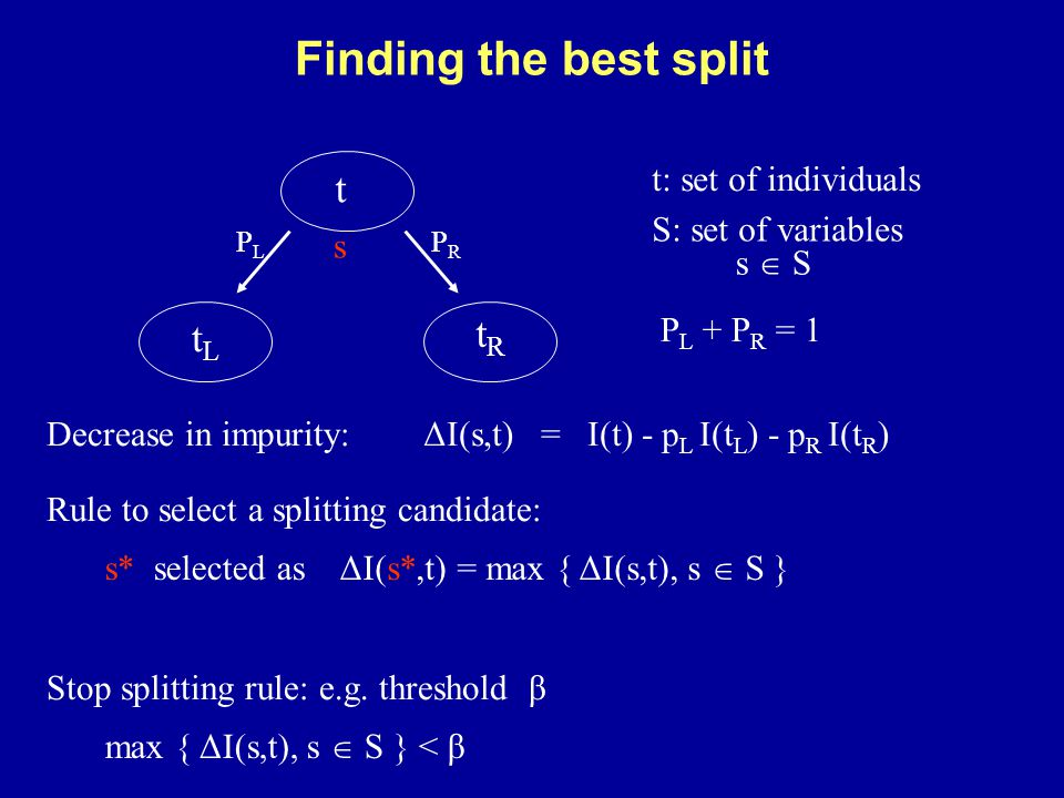 P L + P R = 1 t tLtL tRtR s PRPR PLPL s  S S: set of variables t: set of individuals Finding the best split ΔI(s*,t) = max { ΔI(s,t), s  S } ΔI(s,t) = I(t) - p L I(t L ) - p R I(t R ) Rule to select a splitting candidate: Decrease in impurity: s* selected as Stop splitting rule: e.g.