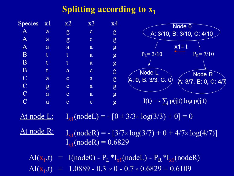I(t) = - ∑ j p(j|t) log p(j|t) Splitting according to x 1 Species x1x2x3x4 A agcg A aaag B ttag B tacg C acag C gcag C acag C accg At node L:I x1 (nod