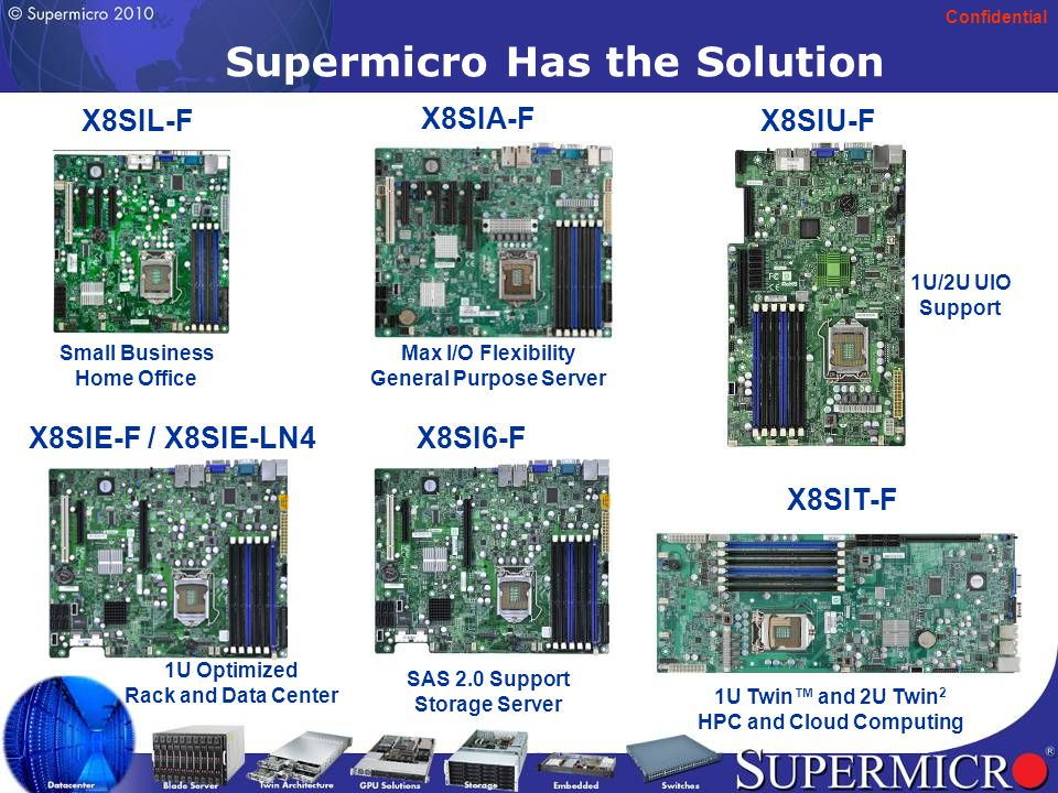Confidential 13 Supermicro Has the Solution X8SIL-F Small Business Home Office X8SIT-F 1U Twin™ and 2U Twin 2 HPC and Cloud Computing X8SIE-F / X8SIE-LN4 1U Optimized Rack and Data Center X8SIA-F Max I/O Flexibility General Purpose Server X8SI6-F SAS 2.0 Support Storage Server X8SIU-F 1U/2U UIO Support