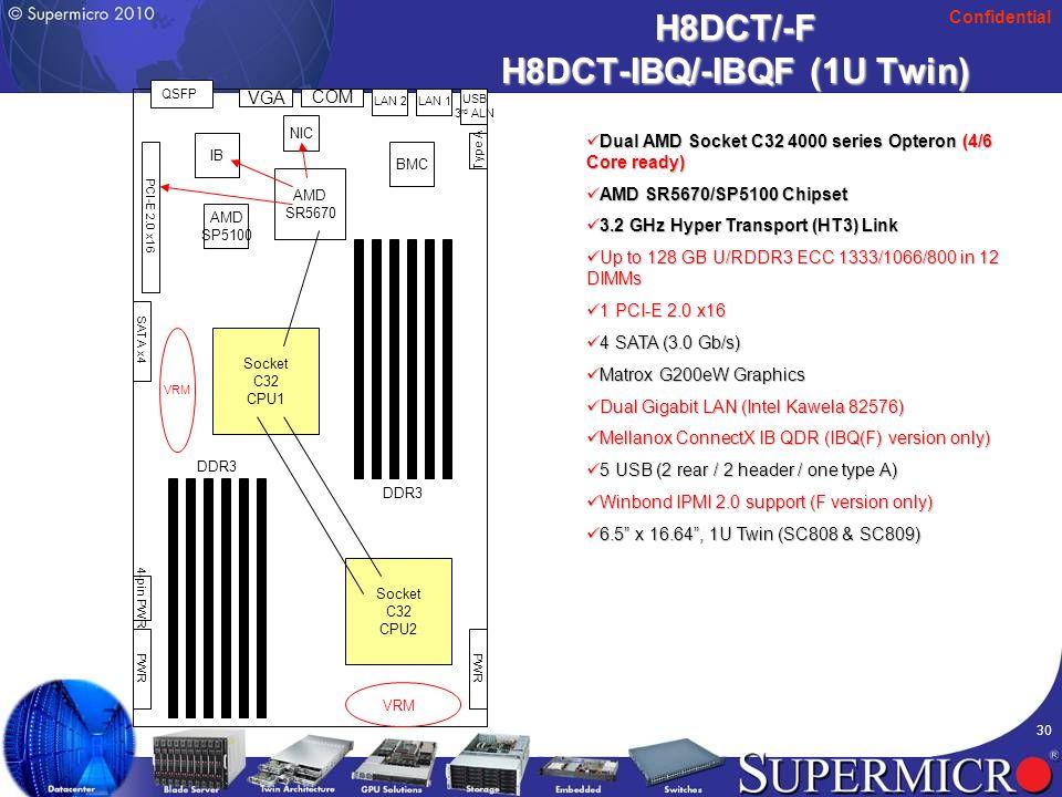 Confidential 30 H8DCT/-F H8DCT-IBQ/-IBQF (1U Twin) Dual AMD Socket C32 4000 series Opteron (4/6 Core ready) Dual AMD Socket C32 4000 series Opteron (4/6 Core ready) AMD SR5670/SP5100 Chipset AMD SR5670/SP5100 Chipset 3.2 GHz Hyper Transport (HT3) Link 3.2 GHz Hyper Transport (HT3) Link Up to 128 GB U/RDDR3 ECC 1333/1066/800 in 12 DIMMs Up to 128 GB U/RDDR3 ECC 1333/1066/800 in 12 DIMMs 1 PCI-E 2.0 x16 1 PCI-E 2.0 x16 4 SATA (3.0 Gb/s) 4 SATA (3.0 Gb/s) Matrox G200eW Graphics Matrox G200eW Graphics Dual Gigabit LAN (Intel Kawela 82576) Dual Gigabit LAN (Intel Kawela 82576) Mellanox ConnectX IB QDR (IBQ(F) version only) Mellanox ConnectX IB QDR (IBQ(F) version only) 5 USB (2 rear / 2 header / one type A) 5 USB (2 rear / 2 header / one type A) Winbond IPMI 2.0 support (F version only) Winbond IPMI 2.0 support (F version only) 6.5 x 16.64 , 1U Twin (SC808 & SC809) 6.5 x 16.64 , 1U Twin (SC808 & SC809) AMD SR5670 VGA USB 3 rd ALN PCI-E 2.0 x16 LAN 1 COM VRM Socket C32 CPU2 Socket C32 CPU1 LAN 2 NIC DDR3 Type A PWR VRM AMD SP5100 BMC QSFP IB SATA x4 PWR 4-pin PWR