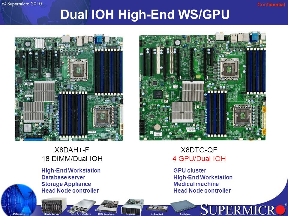 Confidential Dual IOH/SAS2 X8DTH-6(F)/i(F) New Features Provide Enhanced Levels of Performance  Dual IOH-36D support up to 72 PCI-E 2.0 links  7 PCI-E 2.0 x8 slots  SAS II (6Gb/s)  EATX design (12 x13 )  On-board IPMI 2.0 & KVM with dedicated Lan support (F version)  Chassis support; SC213A, SC825TQ, SC836TQ/E1, SC745 Applications  Storage Appliance  Security surveillance system  Medical machine  Mulit-display systems