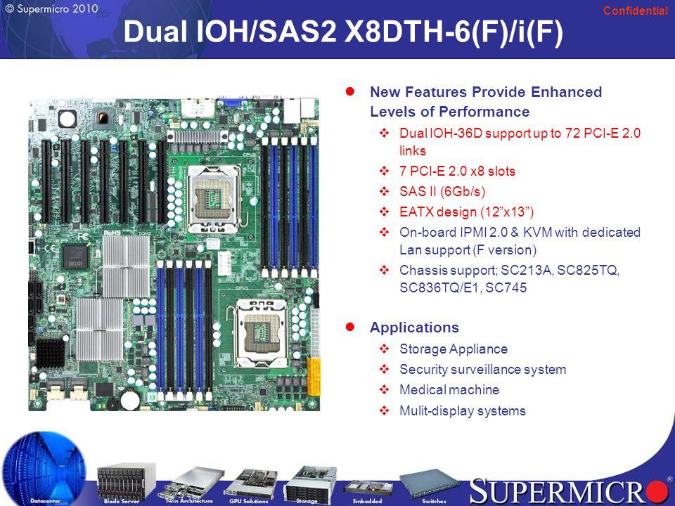 Confidential 26 H8DGT-H/-HF H8DGT-HIBQ/-HIBQF (2U Twin) Dual AMD Socket G34 6000 series Opteron (8/12 Core ready) Dual AMD Socket G34 6000 series Opteron (8/12 Core ready) 3.2 GHz Hyper Transport (HT3) Link 3.2 GHz Hyper Transport (HT3) Link 256 GB U/RDDR3 ECC 1333/1066 in 16 DIMMs 256 GB U/RDDR3 ECC 1333/1066 in 16 DIMMs Mellanox Connect-X IB w/ single QSFP connector support (H8DGT-HIBQ & H8DGT- HIBQF) Mellanox Connect-X IB w/ single QSFP connector support (H8DGT-HIBQ & H8DGT- HIBQF) 2 G-bit LAN (Intel 82576 Kawela) 2 G-bit LAN (Intel 82576 Kawela) Winbond IPMI 2.0 support (H8DGT-HF & H8DGT-HIBQF) Winbond IPMI 2.0 support (H8DGT-HF & H8DGT-HIBQF) 6.78 x 16.64 , 2U Twin (hot plug) (SC827, SC217) 6.78 x 16.64 , 2U Twin (hot plug) (SC827, SC217) Applications: HPC, Data center, Quantum chemistry, Financial simulation, Genomics, and Astrophysics.