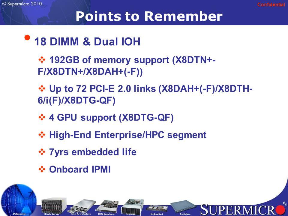 Confidential 27 H8SGL(-F) (UP Server) Single AMD Socket G34 Opteron 6000 series (8/12 Core ready) Single AMD Socket G34 Opteron 6000 series (8/12 Core ready) 2.6 GHz HyperTransport (HT3) Link 2.6 GHz HyperTransport (HT3) Link 128 GB U/RDDR3 ECC 1333/1066 in 8 DIMMs 128 GB U/RDDR3 ECC 1333/1066 in 8 DIMMs 2 G-bit LAN (Intel 82574L) 2 G-bit LAN (Intel 82574L) Winbond WPCM450 IPMI 2.0 Support Winbond WPCM450 IPMI 2.0 Support 12 x 8 , ATX, 1U, 3U, 4U, and above (SC512, SC513, SC811, SC813m, SC111, SC113m, SC731, SC733, SC833, SC835, SC743, SC745) 12 x 8 , ATX, 1U, 3U, 4U, and above (SC512, SC513, SC811, SC813m, SC111, SC113m, SC731, SC733, SC833, SC835, SC743, SC745) Applications: ISP, Application server, Appliance server, General servers, Entry level server