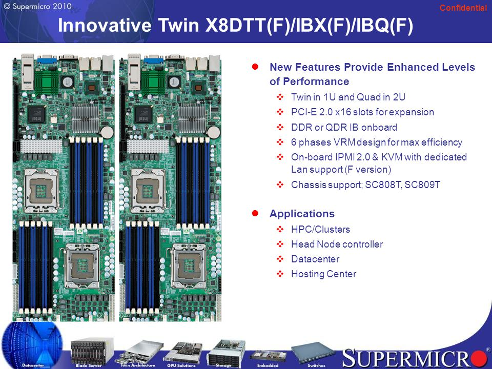 Confidential X8 Super X9SRE-6 /-6F /-6LN4 /-6T Support Sandy Bridge EP, 6 or 8 core processor, Socket R/LGA 2011 Socket Intel® Patsburg –D or-T Chipset DDR3 up to 1600MHz (by CPU) Up to 256GB ECC RDIMM or 64GB non-ECC UDIMM.