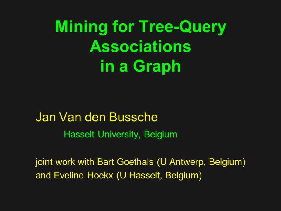 Mining for Tree-Query Associations in a Graph Jan Van den Bussche Hasselt University, Belgium joint work with Bart Goethals (U Antwerp, Belgium) and Eveline Hoekx (U Hasselt, Belgium)
