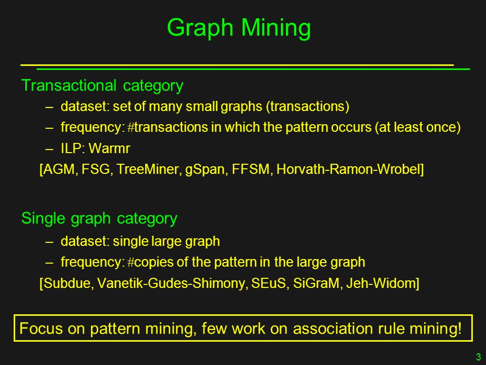 3 Graph Mining Transactional category –dataset: set of many small graphs (transactions) –frequency:  transactions in which the pattern occurs (at least once) –ILP: Warmr [AGM, FSG, TreeMiner, gSpan, FFSM, Horvath-Ramon-Wrobel] Single graph category –dataset: single large graph –frequency:  copies of the pattern in the large graph [Subdue, Vanetik-Gudes-Shimony, SEuS, SiGraM, Jeh-Widom] Focus on pattern mining, few work on association rule mining!