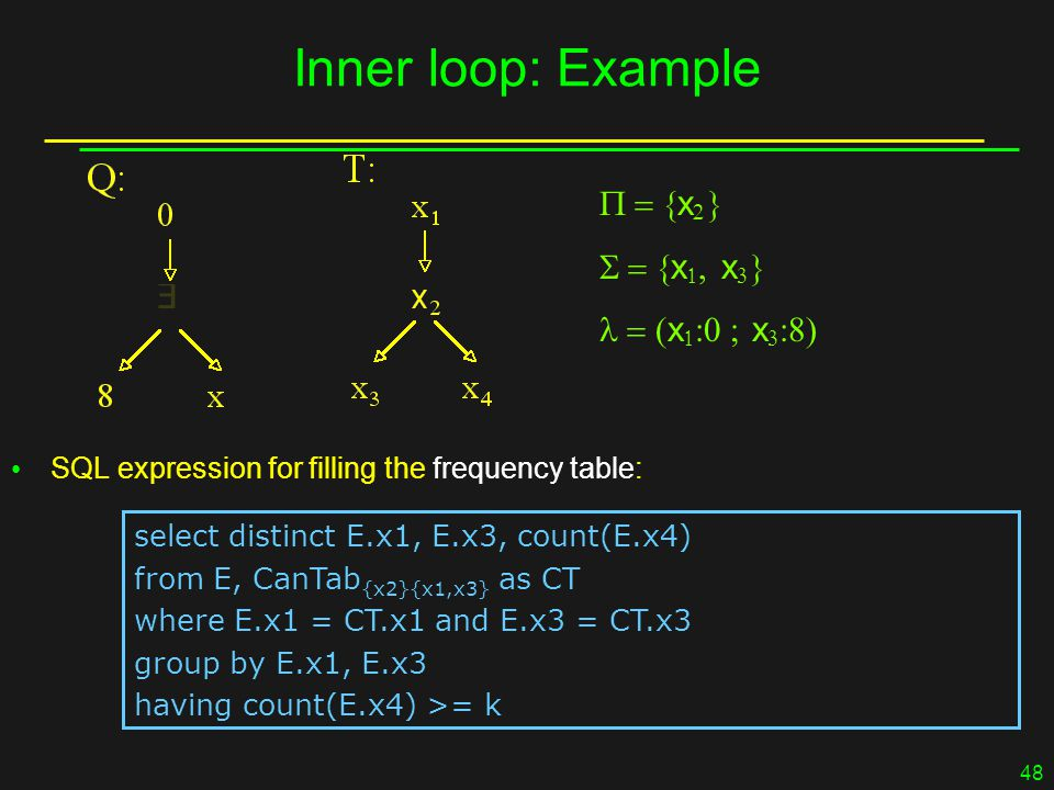 48 Inner loop: Example  x    x   x    x   x   SQL expression for filling the frequency table: select distinct E.x1, E.x3, count(E.x4) from E, CanTab {x2}{x1,x3} as CT where E.x1 = CT.x1 and E.x3 = CT.x3 group by E.x1, E.x3 having count(E.x4) >= k