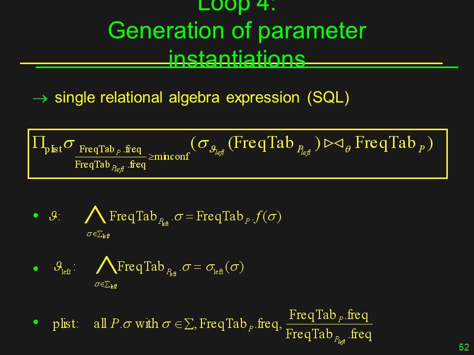 52 Loop 4: Generation of parameter instantiations  single relational algebra expression (SQL) 