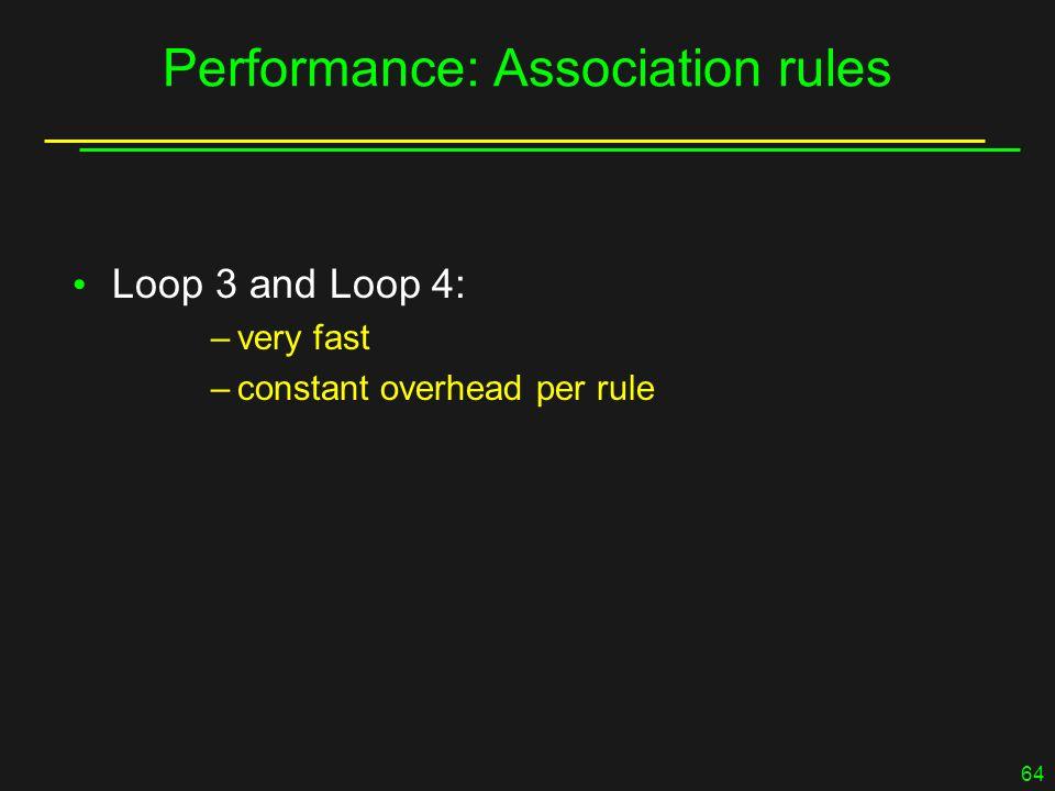 64 Performance: Association rules Loop 3 and Loop 4: –very fast –constant overhead per rule