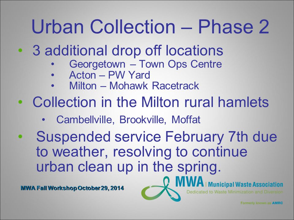 MWA Fall Workshop October 29, 2014 Urban Collection – Phase 2 3 additional drop off locations Georgetown – Town Ops Centre Acton – PW Yard Milton – Mohawk Racetrack Collection in the Milton rural hamlets Cambellville, Brookville, Moffat Suspended service February 7th due to weather, resolving to continue urban clean up in the spring.