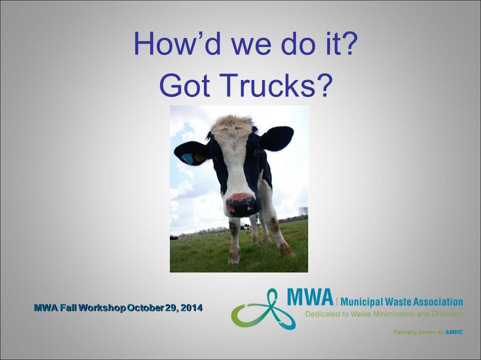 MWA Fall Workshop October 29, 2014 How'd we do it Got Trucks