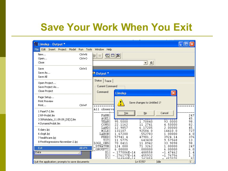 Save Your Work When You Exit