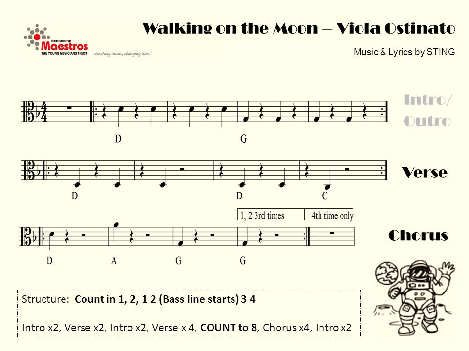 Walking on the Moon – Viola Ostinato Music & Lyrics by STING Verse Intro/ Outro Chorus Structure: Count in 1, 2, 1 2 (Bass line starts) 3 4 Intro x2, Verse x2, Intro x2, Verse x 4, COUNT to 8, Chorus x4, Intro x2