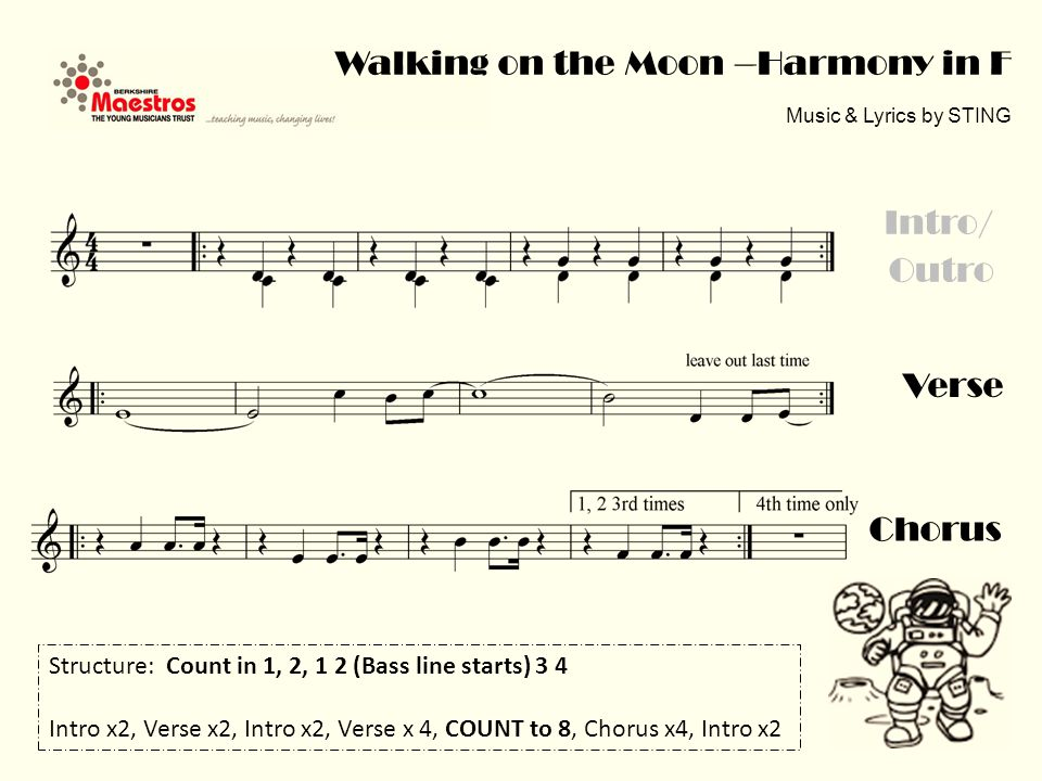Chorus Verse Intro/ Outro Walking on the Moon –Harmony in F Music & Lyrics by STING Structure: Count in 1, 2, 1 2 (Bass line starts) 3 4 Intro x2, Verse x2, Intro x2, Verse x 4, COUNT to 8, Chorus x4, Intro x2