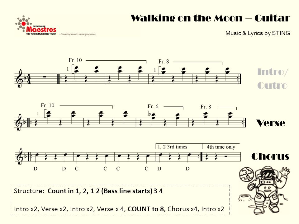 Walking on the Moon – Guitar Music & Lyrics by STING Verse Intro/ Outro Chorus Structure: Count in 1, 2, 1 2 (Bass line starts) 3 4 Intro x2, Verse x2, Intro x2, Verse x 4, COUNT to 8, Chorus x4, Intro x2