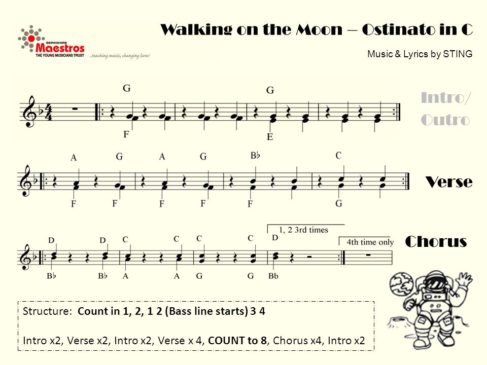 Walking on the Moon – Ostinato in Bb Music & Lyrics by STING Verse Chorus Intro/ Outro Structure: Count in 1, 2, 1 2 (Bass line starts) 3 4 Intro x2, Verse x2, Intro x2, Verse x 4, COUNT to 8, Chorus x4, Intro x2