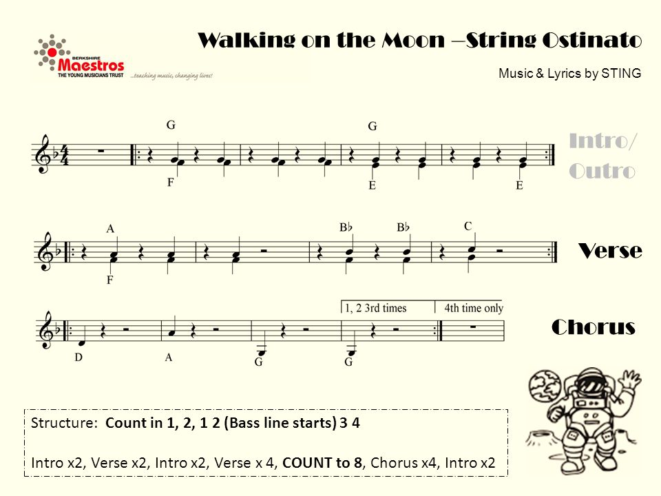 Walking on the Moon –String Ostinato Music & Lyrics by STING Verse Intro/ Outro Chorus Structure: Count in 1, 2, 1 2 (Bass line starts) 3 4 Intro x2, Verse x2, Intro x2, Verse x 4, COUNT to 8, Chorus x4, Intro x2