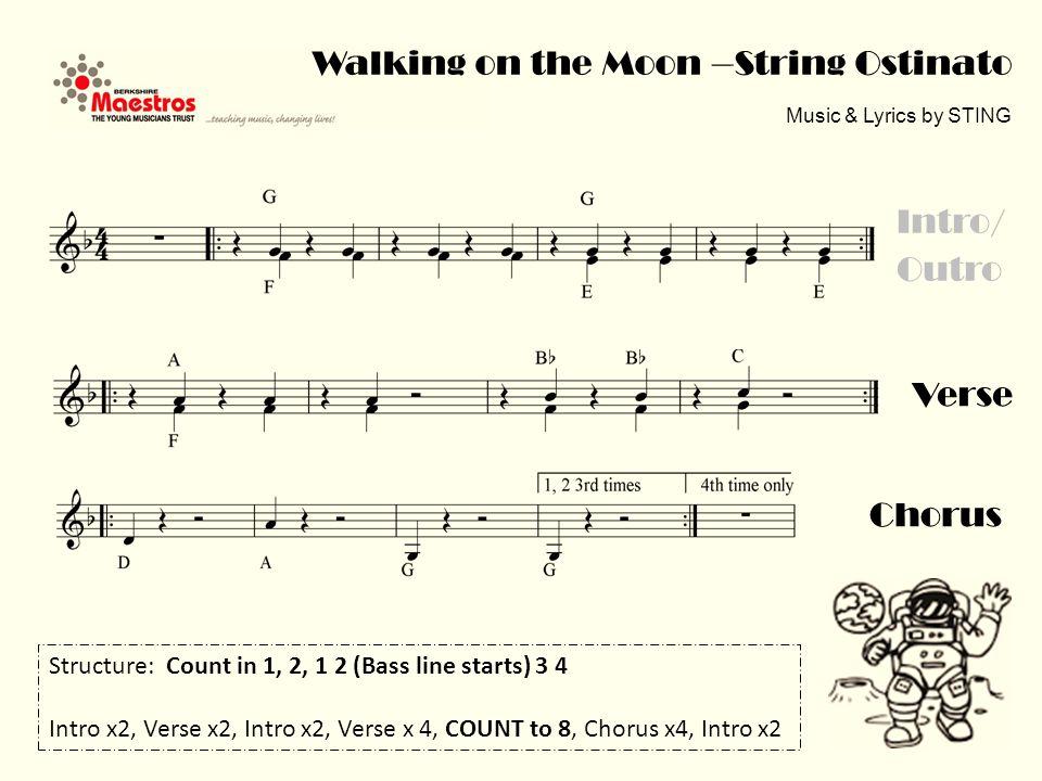 Chorus Walking on the Moon – Melody in Eb (high) Music & Lyrics by STING
