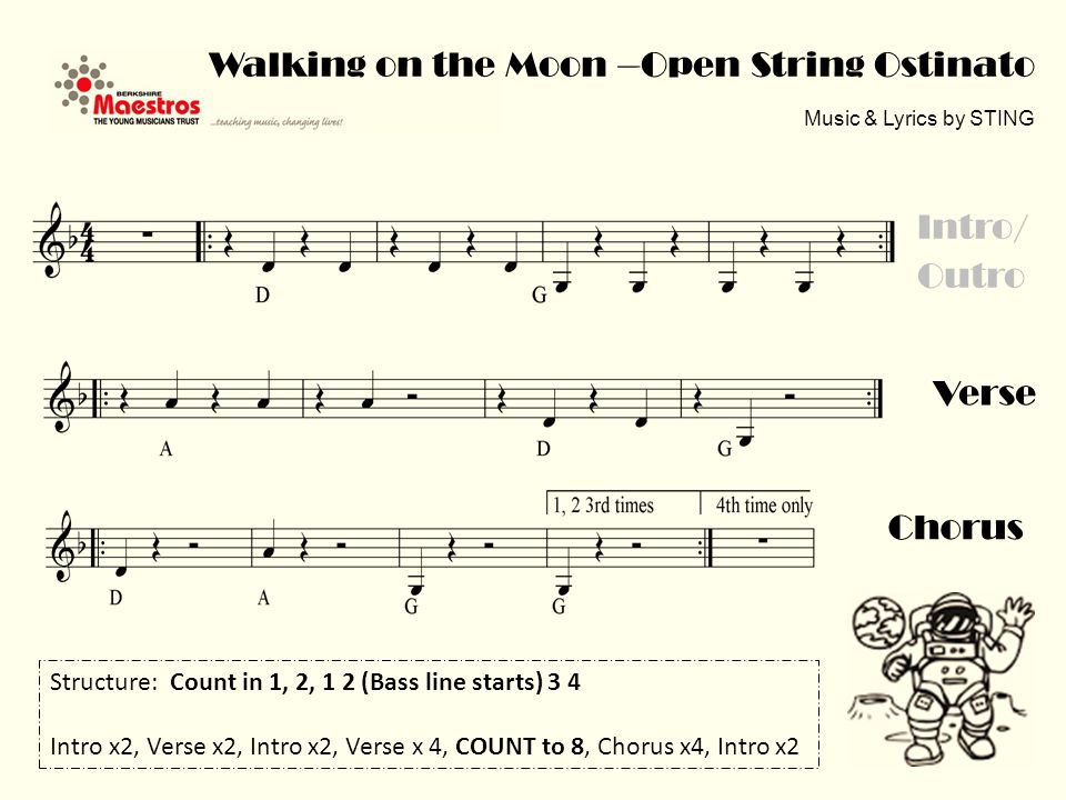 Verse Walking on the Moon – Melody in C (low) Music & Lyrics by STING