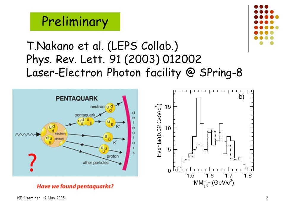 KEK seminar 12 May 200513 Simulation parameters Wilson quark & Plaquette gauge beta=5.7 (a~0.2fm), quenched QCD 8 3 x24 [(1.6fm) 3 x4.8fm] 3000confs.