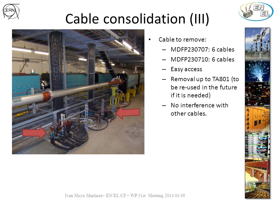 Cable consolidation (III) Cable to remove: – MDFP230707: 6 cables – MDFP230710: 6 cables – Easy access – Removal up to TA801 (to be re-used in the future if it is needed) – No interference with other cables.