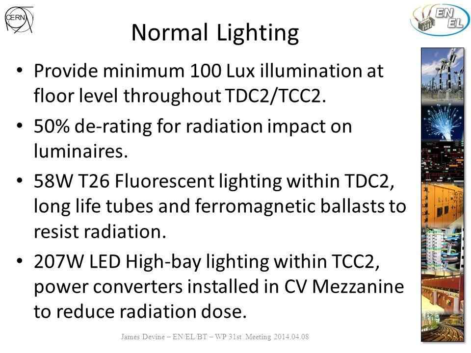 Normal Lighting James Devine – EN/EL/BT – WP 31st Meeting 2014.04.08 Provide minimum 100 Lux illumination at floor level throughout TDC2/TCC2.
