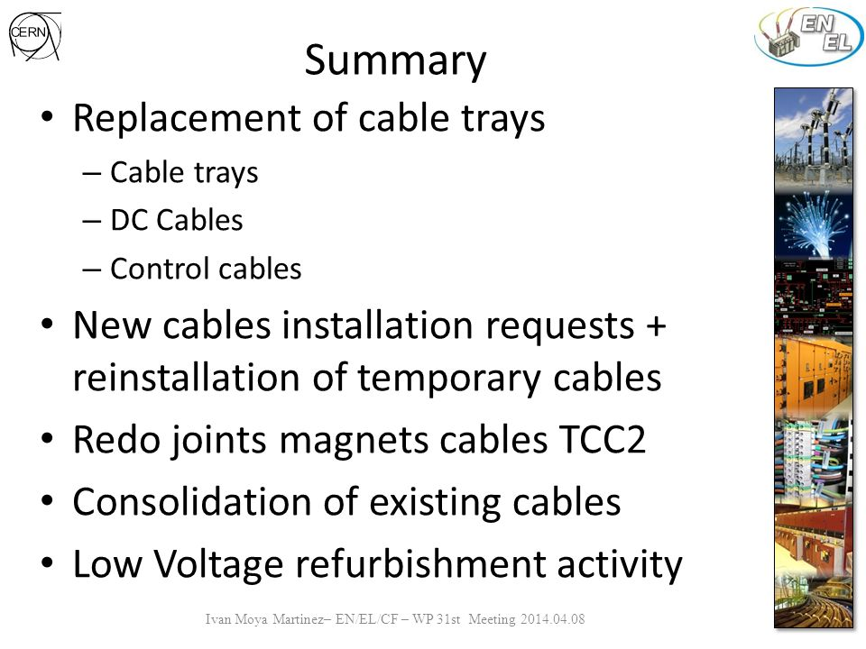 Replacement of cable trays (I) Ivan Moya Martinez– EN/EL/CF – WP 31st Meeting 2014.04.08 Re-routing zone (40m approx.)