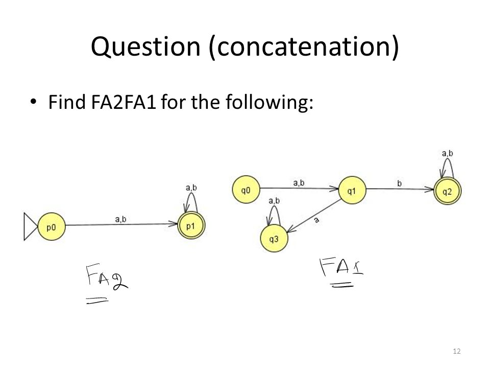Question (concatenation) Find FA2FA1 for the following: 12