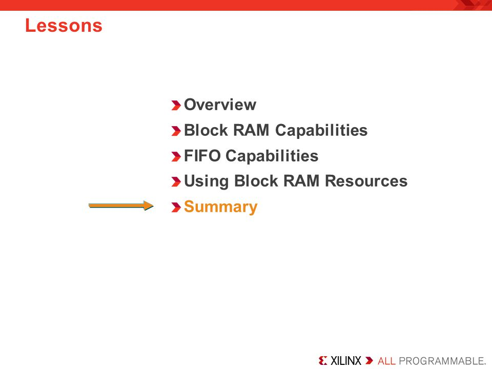 Overview Block RAM Capabilities FIFO Capabilities Using Block RAM Resources Summary Lessons