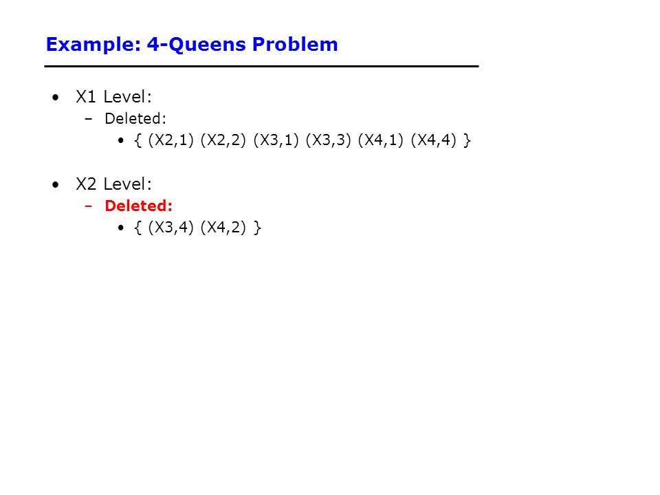 Example: 4-Queens Problem X1 Level: –Deleted: { (X2,1) (X2,2) (X3,1) (X3,3) (X4,1) (X4,4) } X2 Level: –Deleted: { (X3,4) (X4,2) }