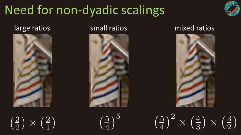 Need for non-dyadic scalings large ratios mixed ratios small ratios