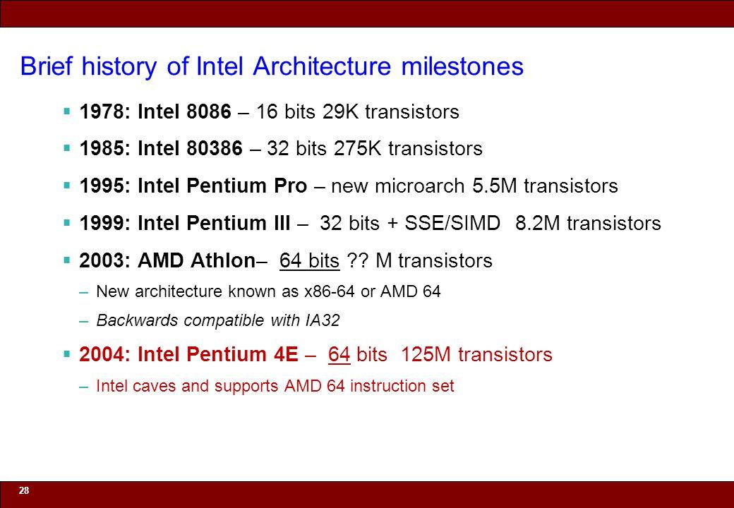 © 2010 Noah Mendelsohn Brief history of Intel Architecture milestones  1978: Intel 8086 – 16 bits 29K transistors  1985: Intel 80386 – 32 bits 275K transistors  1995: Intel Pentium Pro – new microarch 5.5M transistors  1999: Intel Pentium III – 32 bits + SSE/SIMD 8.2M transistors  2003: AMD Athlon– 64 bits .