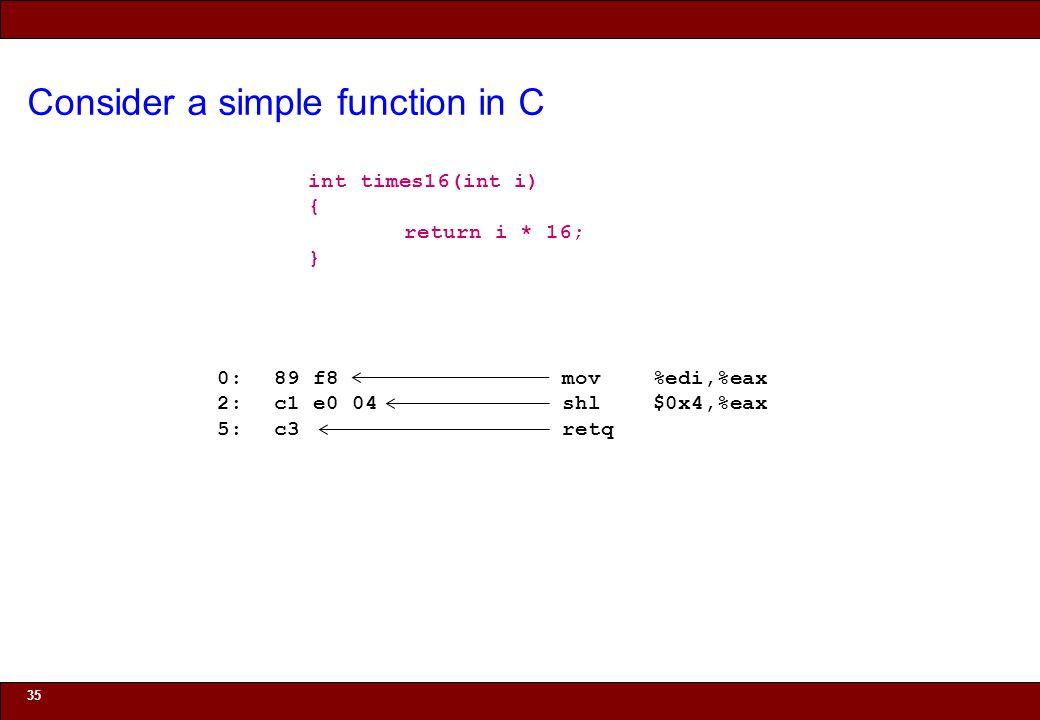 © 2010 Noah Mendelsohn Consider a simple function in C 35 int times16(int i) { return i * 16; } 0:89 f8 mov %edi,%eax 2:c1 e0 04 shl $0x4,%eax 5:c3 retq