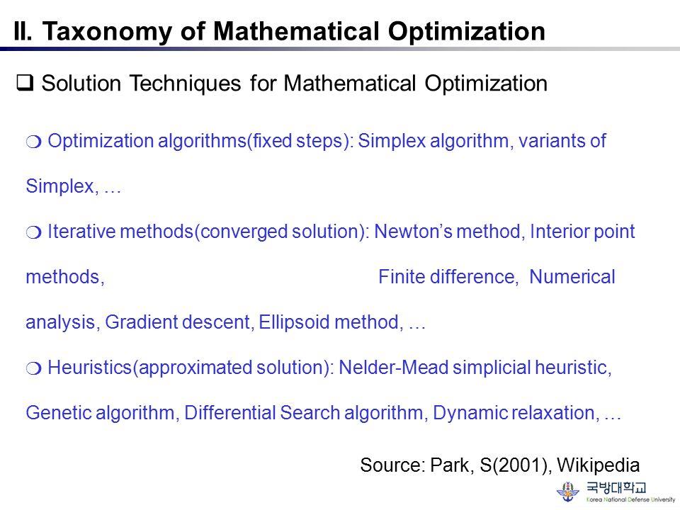 II. Taxonomy of Mathematical Optimization  Solution Techniques for Mathematical Optimization ❍ Optimization algorithms(fixed steps): Simplex algorith