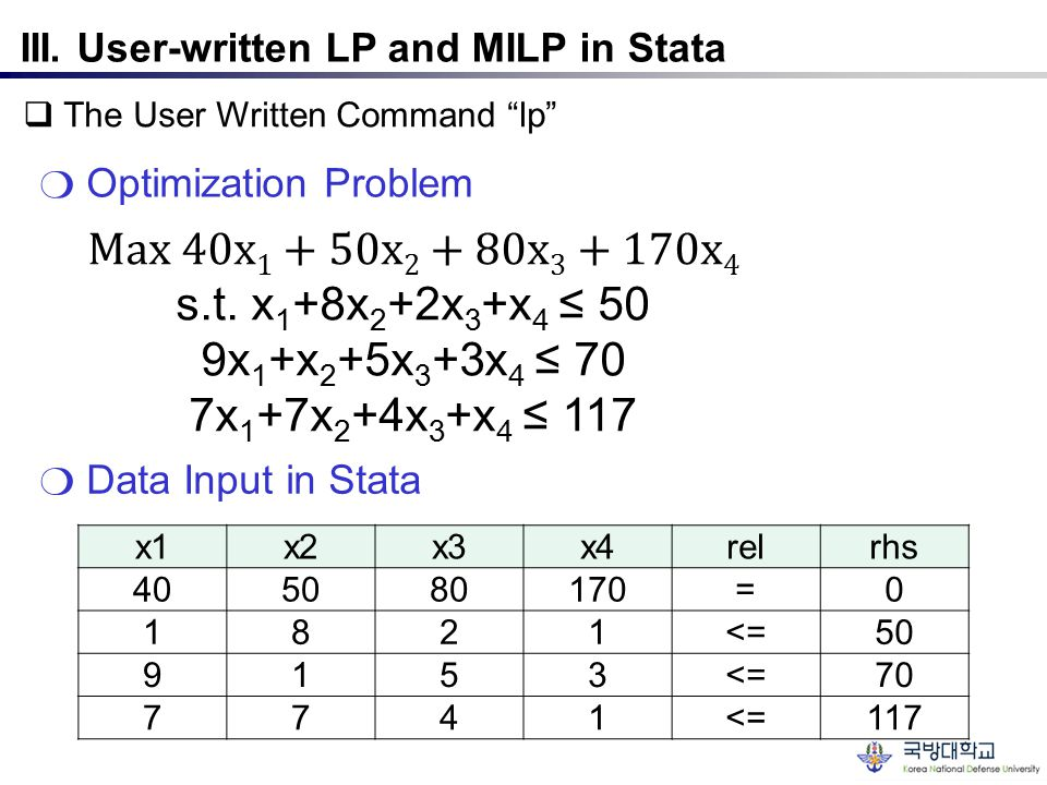""" The User Written Command """"lp"""" ❍ Optimization Problem III. User-written LP and MILP in Stata x1x2x3x4relrhs 405080170=0 1821<=50 9153<=70 7741<=117 ❍"""